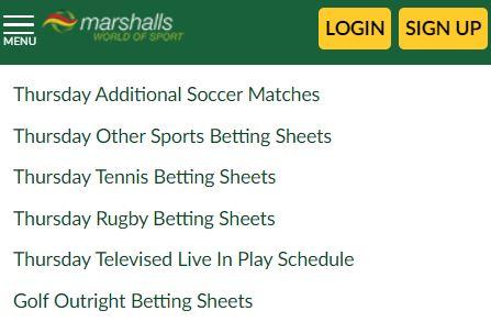 Marshalls world of sport betting fixtures betting bangaraju mp3 zing